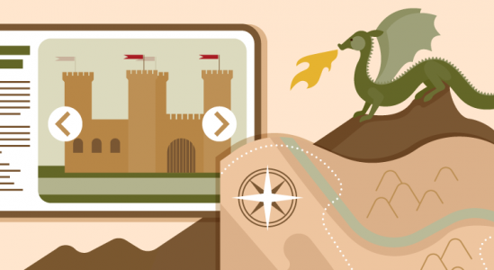 Illustration of a castle and a dragon