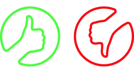 Illustration of a thumbs up, and thumbs down