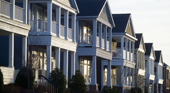 Row of two story homes/apartments
